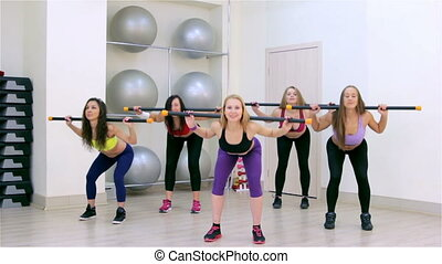 Fitness. Aerobics with body-bar - Young women doing aerobics...