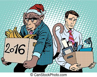 Santa Claus monkey 2016 new year and sad people pop art...