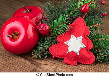 Christmas red decoration on wooden background