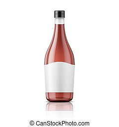 Wine vinegar bottle with cap and label. - Glass wine vinegar...