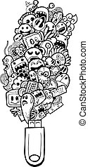 cartoon doodle-hand drawing - vector illustration of cartoon...