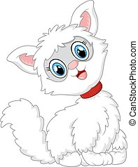 white cat cartoon - vector illustration of white cat cartoon...