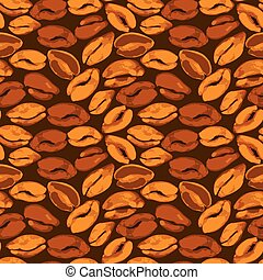 Seamless pattern with grunge aquarelle beans. Background design in brown colors for cafe or restaurant menu.