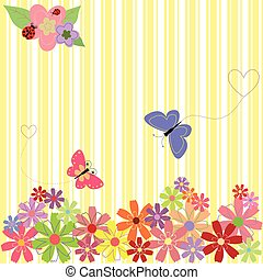 Springtime flowers & butterflies on yellow stripe background