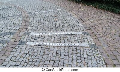 Prime Meridian in Baden-Baden, Germany. Europe