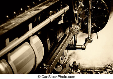 steam locomotive - a steam locomotive closeup in sepia...