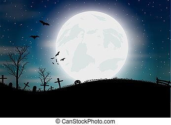 Halloween background with pumkin, bats and big moon Vector...