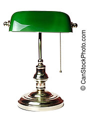 classic bankers lamp isolated on a white background