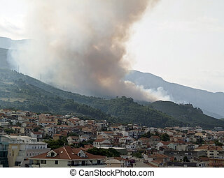 Fire over the city - Picture present forest fire over the...