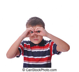Small boy model holding hands binoculars - Small boy model...