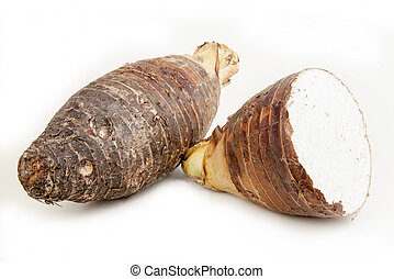 Head two taro split on white background