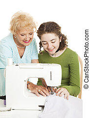 Sewing Lessons - Grandmother teaches her teen granddaughter...