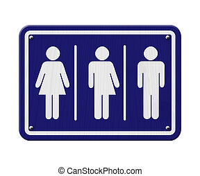 Transgender Sign, Blue and White Sign with a woman, male and...