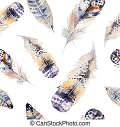 Watercolor birds feathers pattern. Seamless texture with hand dr