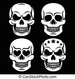 Halloween human skull white design - Vector icons set of...