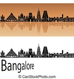Bangalore skyline in orange background in editable vector...
