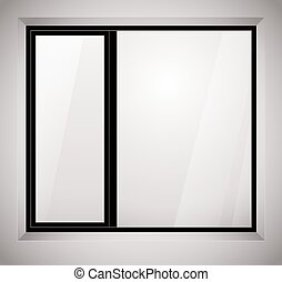 Plastic black window frame. Vector illustration