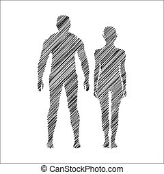 Man and woman icon Doodle style - Abstract man and woman...