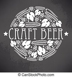 Craft beer logo - Illustration of decorative monochrome...