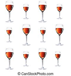 Twelve glasses with red wine.Vector