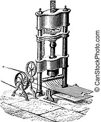 An apparatus for manufacturing round wire, vintage engraving.