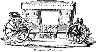 Carriage of Henri IV, vintage engraving - Carriage of Henri...