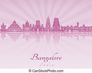 Bangalore skyline in purple radiant orchid in editable...