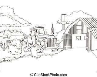 Tractor on the farm coloring book vector illustration