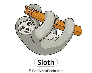 Sloth cartoon vector illustration - Sloth cartoon funny...
