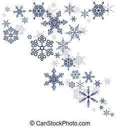 Pattern of snowflakes on a white background