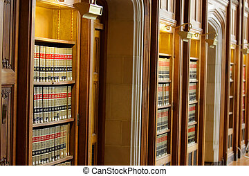 Law Book Library - Many law books in the shelfs of library