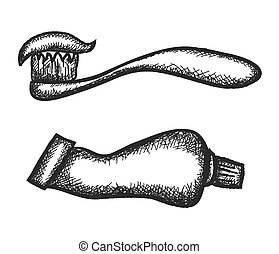 doodle toothpaste and toothbrushes, vector illustration icon