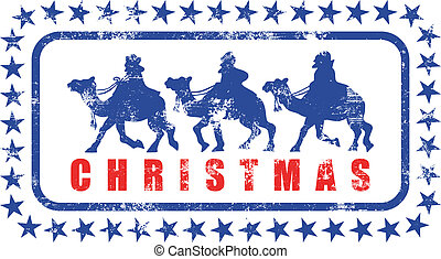 Christmas Magi Rubber Stamp - A grunge Christmas rubber...