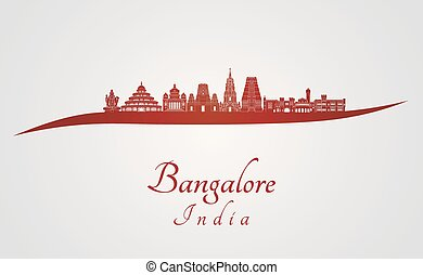 Bangalore skyline in red and gray background in editable...