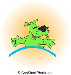colourful green puppy. Vector