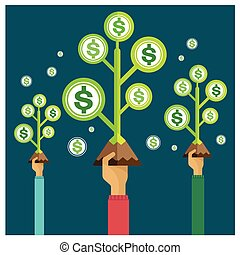 vector money tree growing Earnings growth income investment model economy hand and arm