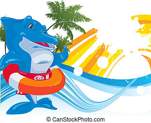 dolphin. Vector illustration - dolphin on a white...