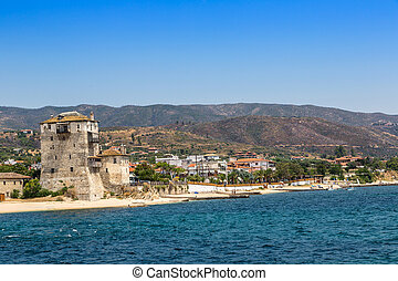 Ouranoupolis tower in Chalkidiki, Greece in a summer day