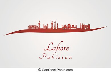 Lahore skyline in red and gray background in editable vector...