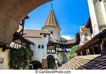 Bran castle in Transylvania - Bran castle in inner yard in a...