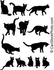 Cats - Vector black and white silhouettes of cats
