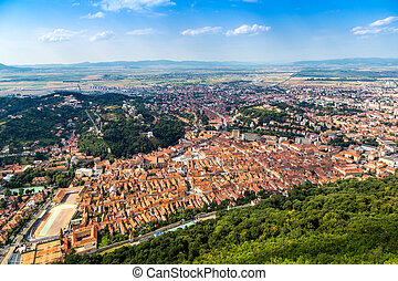 Panoramic view of Brasov city in a summer day in...