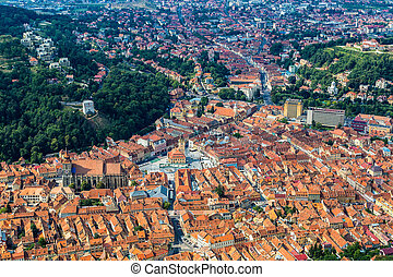City hall of Brasov city in a summer day in Transylvania,...