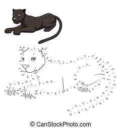 Draw the animal panther educational game vector illustration