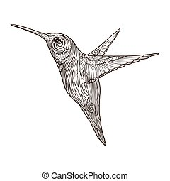 Hummingbird with abstract ornament vector - Hummingbird with...