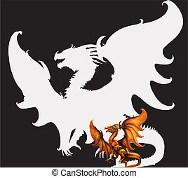 Medieval dragon. Vector