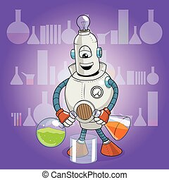 vector, Ciencia, experimento, caricatura,  robot