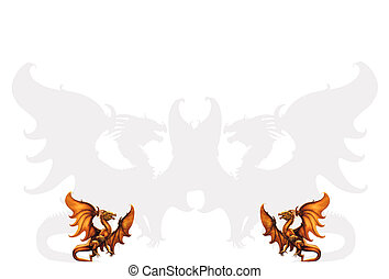 Two medieval dragons. Vector illust