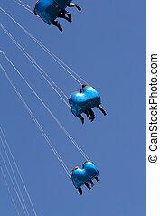 azul, carros, alto, céu, cima