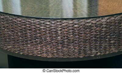 rattan texture table glass top - Close up of rattan texture...